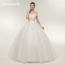 Fansmile Vestido דה Noiva בציר תחרה טול כדור שמלות כלה 2020 בתוספת גודל מותאם אישית כלה שמלות משלוח חינם FSM 141F