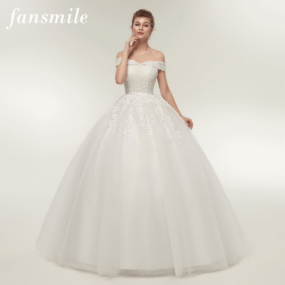 Fansmile Vestido de Noiva Vintage Lace Tulle Ball Wedding Dresses 2019 Plus Size Customized Bridal Gowns Free Shipping FSM 141F-in Wedding Dresses from Weddings & Events