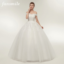 Fansmile Vestido de Noiva Vintage Lace Tulle Ball Wedding Dresses 2020 Plus Size Customized Bridal Gowns Free Shipping FSM 141F