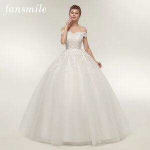 Image 1 - Fansmile Vestido de novia de talla grande, Encaje Vintage, Bola de tul, personalizado, Envío Gratis FSM 141F, 2020