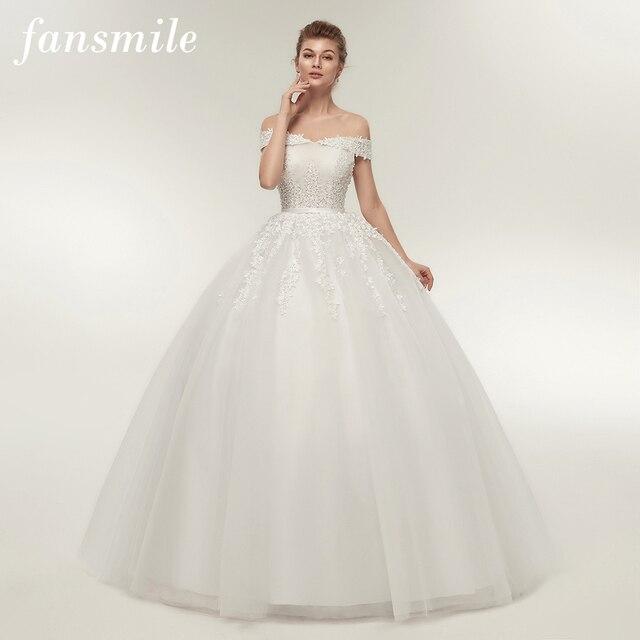 Fansmile Vestido de novia de talla grande, Encaje Vintage, Bola de tul, personalizado, Envío Gratis FSM 141F, 2020