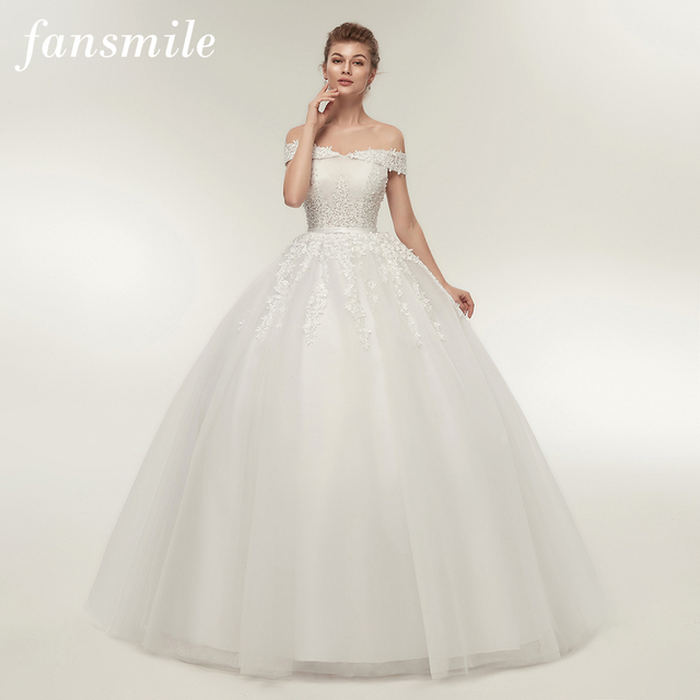 Fansmile vestido de noiva noiva laço do vintage tule bola vestidos de casamento 2020 plus size personalizado vestidos de noiva frete grátis FSM 141F
