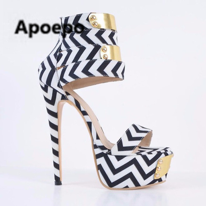 Newest sexy sandals women large size high heels women sandal print mixed colors gladiator platform shoes women metal decor shoes apoepo 2018 newest sandalen dames beige metal decor thin heels high heels sandals women summer sexy women s heel sandals shoes