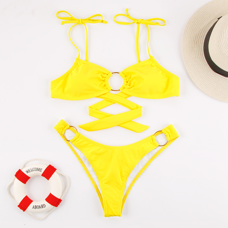 Miyouj Sexy Bandeau Bikini Bandage Swimwear Women Solid Swimwear 2019 Bathing Suits Rings Bikini Set Hollow Out Biquini Swimwear