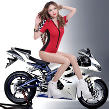 New Sexy Motorcycle Ladies Fancy Dress Outfits Bar Club Racing Competition Female Cheerleaders Stage Wear Bodysuit Uniform