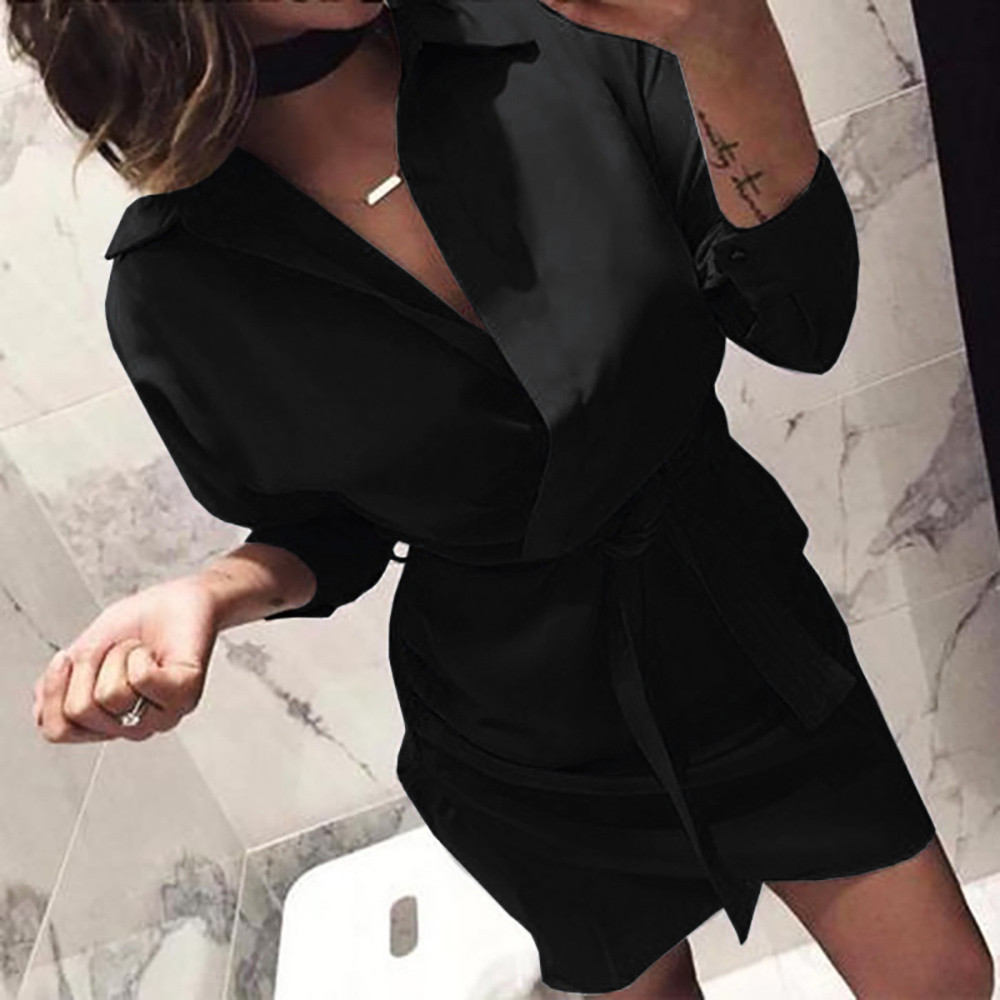 Women's New Fashion Long Sleeve Autumn Casual knotted Dress Elegant Black Dresses Womens Ladies Dress vestidos verano 2020 S!80 Dresses     - title=