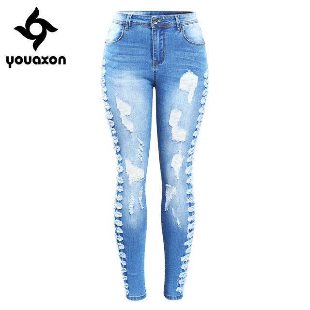 86d065a50dd 2145 Youaxon New Arrived Plus Size Stretchy Ripped Jeans Woman Side  Distressed Denim Skinny Pencil Pants