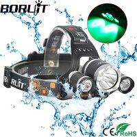 BORUiT 5000LM XML T6 XPE LED Vert Phare 3-Mode Phare Rechargeable Tête Torche Chasse Camping lampe de Poche par 18650 Batterie