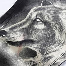 Hommes de mode de loup imprimer stretch denim jeans Slim noir peint pantalon droit Long pantalon
