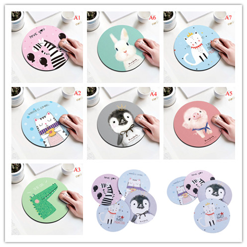 1Pc Cute Art Design Mouse Pad Round Office Mice Pad Rubber Home Computer Anti-slip Table Mat Study Room PC Desk Set