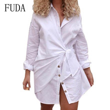 FUDA Women Blouses Fashion Long Sleeve Turn Down Collar Office Shirt New Casual Pleated with Button Femme Camiseta Mujer