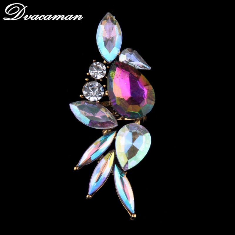 Dvacaman Fashion 2017 New Unique Design Crystal Charm Finger Rings Big Rings For Women Hand Jewelry Acessory Wholesale 7660