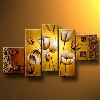 5pcs Hand Painted Oil Painting Modern Canvas Art Wall Decor Charming Tulips On The Gold--Floral Oil Painting Wall Art