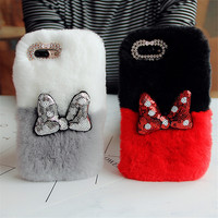 For IPhone X 8 7 6 6S Plus 5S Mickey Bowknot Rabbit Fur Cases Warm Handmade