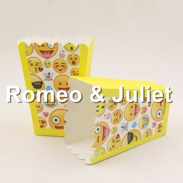 Mini Emoji Theme Party Paper Popcorn Boxes Candy Snack Favor Bags Wedding Birthday Movie Supplies 10pcs