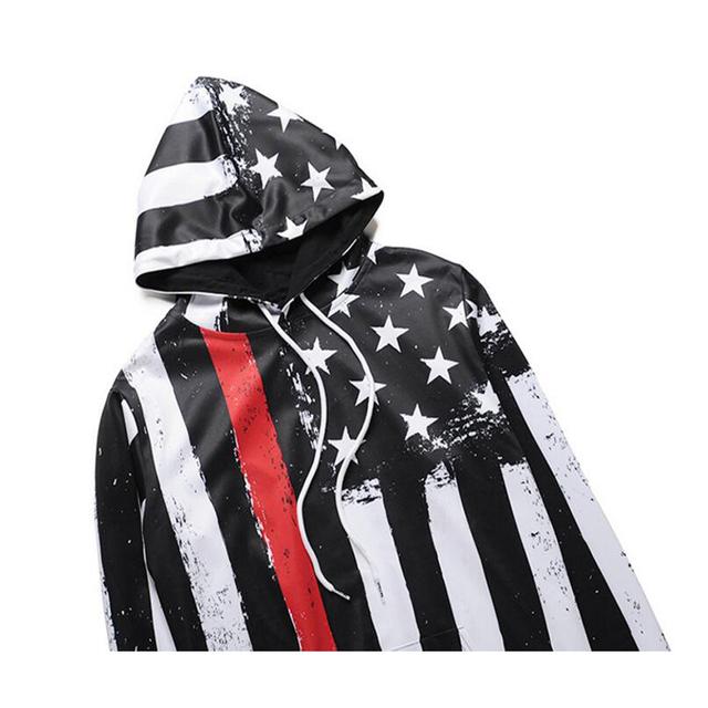 Mr.BaoLong brand Stripes American flag 3D printed black hooded hoodies men's drawstring hoodies pullover sweatshirt H121