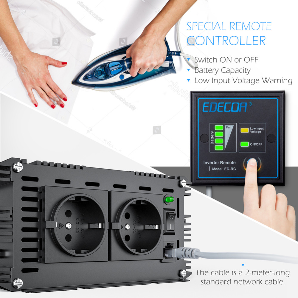 pure sine wave power inverter converter 1500 watt DC 24V to AC 220V 1500w max 3000w With wired remote controller-in Inverters & Converters from Home Improvement    3