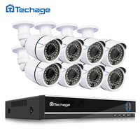 Techage 8CH 1080P HDMI AHD DVR CCTV System 2MP 3000TVL Outdoor Weatherproof 8pcs CCTV Camera Set