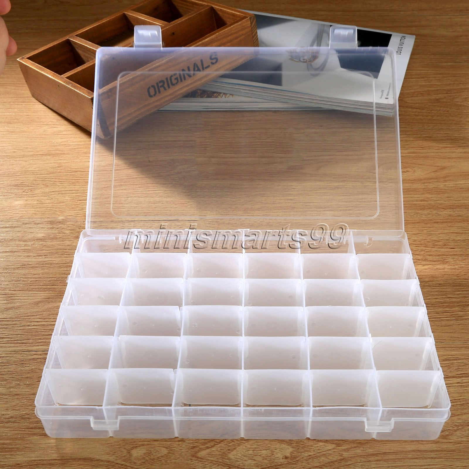 36 Compartment Transpa Adjule Jewelry Box Holder Storage Container Case Rings Earrings Display Organizer 27x17x4 2cm In Bo Bins From