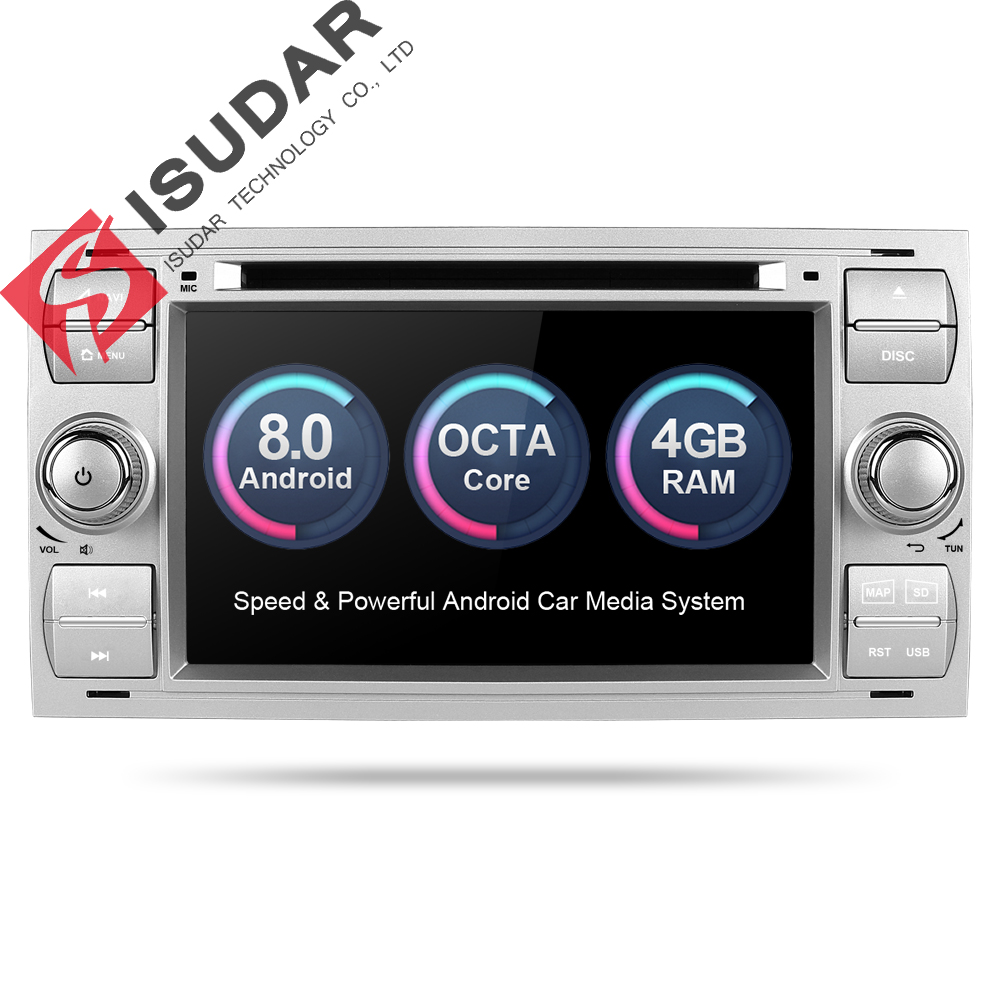 Isudar Car Multimedia Player GPS Android 8.0 2 Din Stereo Sistema Radio Per Ford/Focus/Mondeo/Kuga octa Core Wifi Microfono DVR