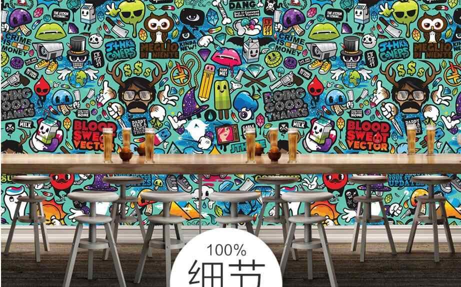 Feitos sob encomenda das crianças papel de parede abstrato grafite, murais de parede para sala quarto das crianças dos desenhos animados 3D loja de papel de parede da parede do vinil