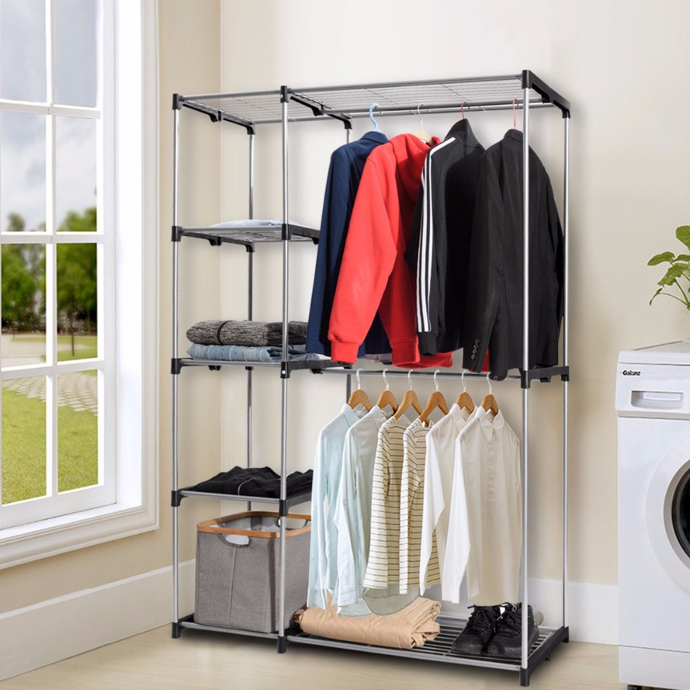 Giantex Closet Organizer Garment Rack Portable Clothes Hanger Storage Rack Home Shelf Home Furniture HW56835 20 cubes interlocking modular storage organizer shelving closet wardrobes rack with doors for home clothes shoes toys storage