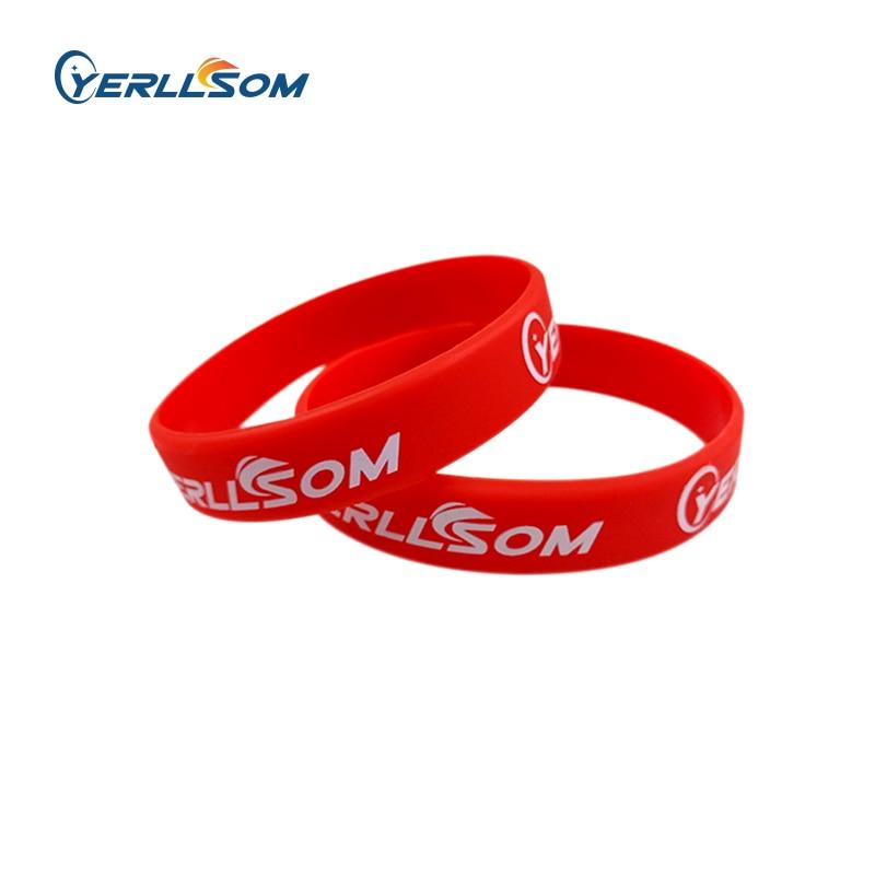 YERLLSOM 200 개/몫 고품질 맞춤형 고무 실리콘 팔찌 선물 Y101002-에서ID 팔찌부터 쥬얼리 및 액세서리 의  그룹 1