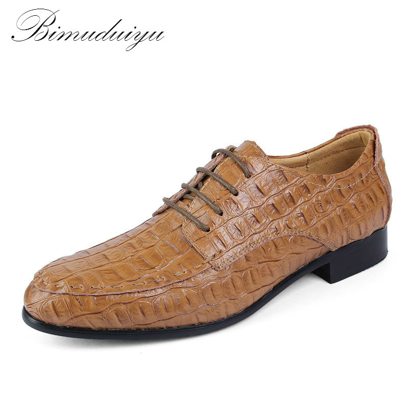 BIMUDUIYU Fashion Crocodile Grain Genuine Leather Lace-Up Business Shoes Men Dress Leather Shoes zapatos hombre Big Size 39-49