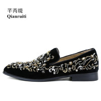Qianruiti черная замша Для мужчин Кристалл Цветочные Шлёпанцы для женщин модные слипоны лоферы на горный хрусталь Скорпион ручной работы Для му