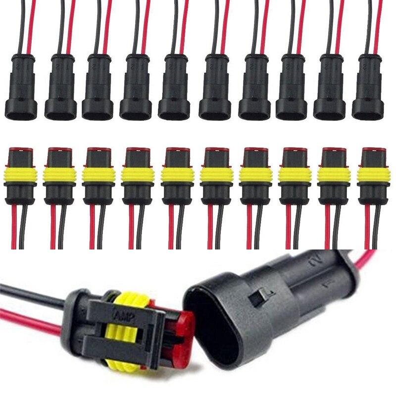 Nueva 10 Sets 2-Pasadores way coche impermeable conector eléctrico enchufe adaptador Alambres AWG para moto scooter coche camión barco
