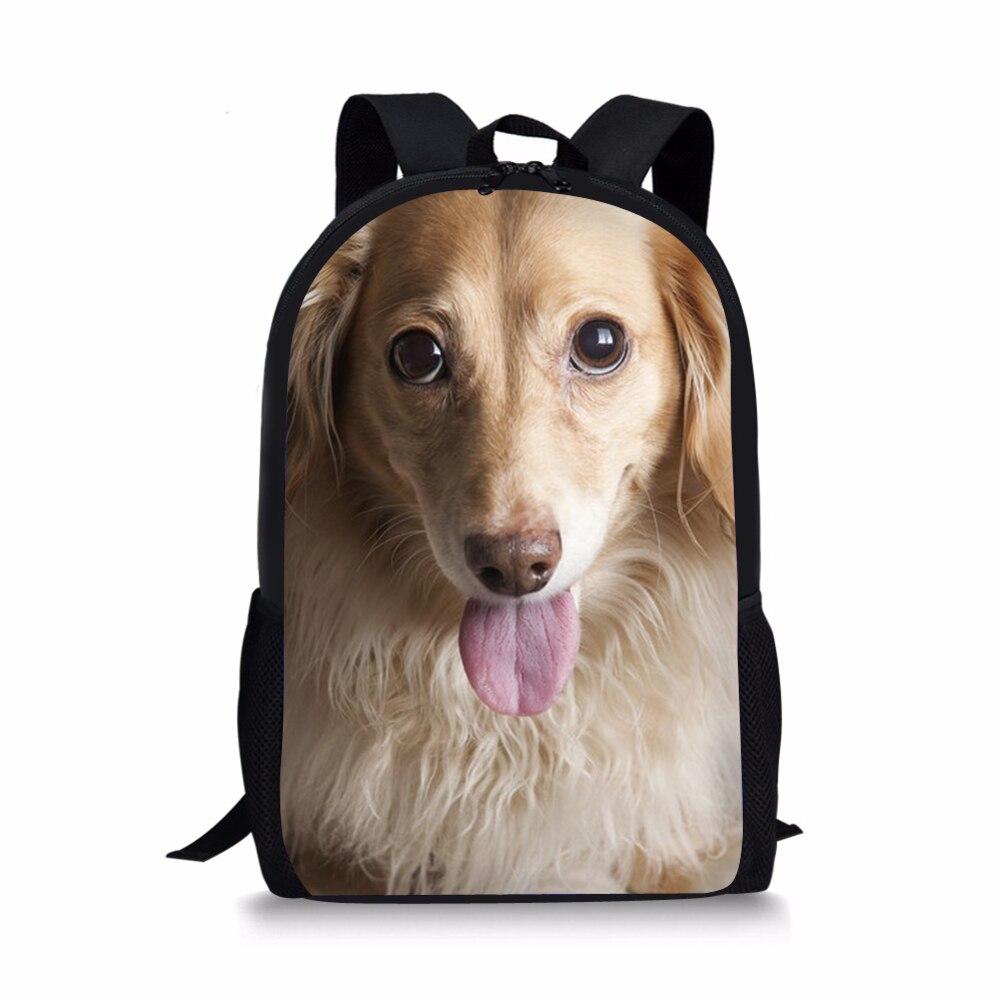Такса принт Дети Школьные сумки для девочек домашних собак Дизайн Студенты книга Back Pack детей Животные школьный Mochila ребенок