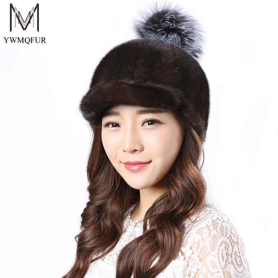 YWMQFUR Real Mink Fur Hats With Fox ball Women Natural Mink Fur Cap New Style Good Quality Famle Fur Caps  Russia Winter Hat H45