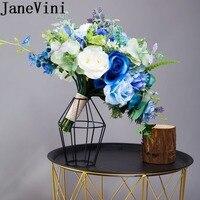 JaneVini 2019 Royal Blue Bride Bouquet Artificial Rose Wedding Flowers Bridal Bouquets Bridesmaid Photography Brooch Flores Boda