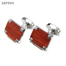 Фотография 2017 New Low-key Luxury Wood Cufflinks For Mens High Quality Lepton Jewelry Square Rosewood Cuff links Men Shirt Cuff Cuff links