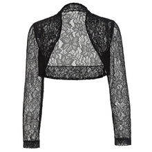 Lace Bridal Boleros See Through Short Wedding Jackets 2017 Black White Wraps Wedding Accessories Plus Size Long Sleeve Shrug(China)