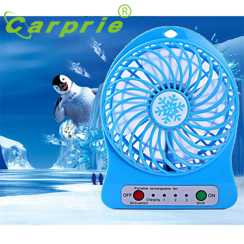 2017 New Portable Rechargeable LED Fan air Cooler Mini Operated Desk USB 18650 Battery High Quality Wholesale Price Gift_KXL0413