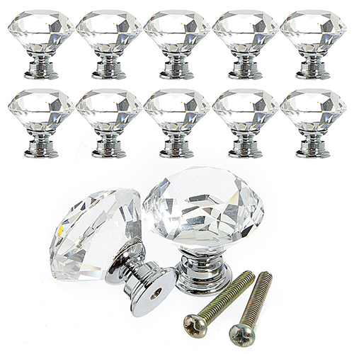 10pcs/lot 30mm Clear Diamond Shape Crystal Glass Pull Handle Cupboard Cabinet Drawer Door Furniture Knob Freeshipping недорго, оригинальная цена