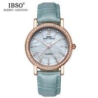 IBSO ブランドファッション女性腕時計革ストラップ時計の女性の高級クリスタルダイヤモンド 2018 クォーツ腕時計 Montre ファム