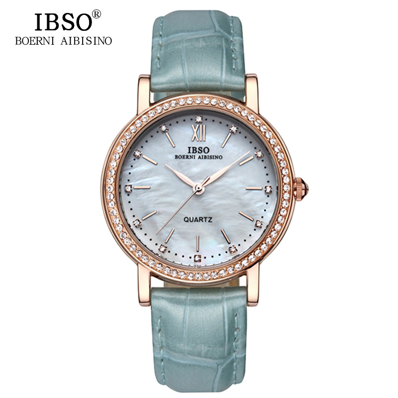IBSO Merk Mode Dameshorloges Lederen band Horloge Dames Luxe Kristal Diamant 2018 Quartz Horloges Montre Femme