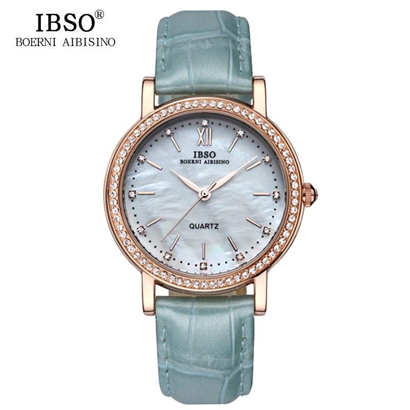 IBSO Brand Fashion Woman Watches Leather Strap Watch Women Luxury Crystal Diamond 2018 Quartz Wristwatches Montre Femme