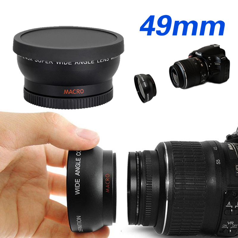 49mm 0.45X Super macro gran angular fisheye macro fotografía para Canon Nikon Sony Pentax DSLR SLR cámara DV 49mm lente de rosca
