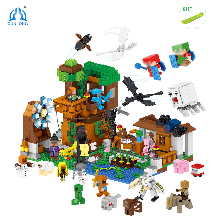 1007pcs Minecrafted Village Building Block Toys Compatible Legoe City Minecraft Figures Bricks Toys For Children Birthday Gift minecrafted building blocks toys bricks figures compatible legos minecraft friends city toys birthday gift for kids gift toys