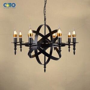 Image 3 - Vintage czarny świeca światła żelazna lampa wisząca jadalnia Mall oświetlenie cod wisiorek światła 1.2M E27 110 240V darmowa wysyłka