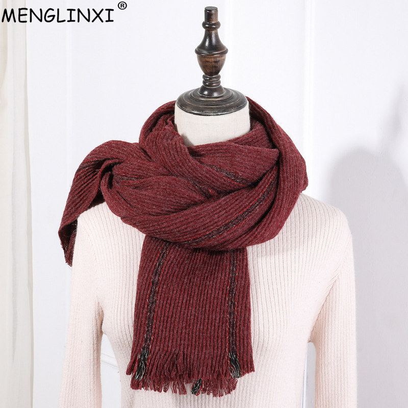 Classic Ruffled Striped   Scarf   2019 New Design Soft Warm Thickening Winter   Scarf   Shawl Brand Women   Scarves     Wraps   For Ladies