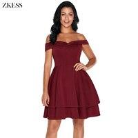 ZKESS Women Fashion Off Shoulder Layered Skater Dress Sweet Stylish Slash Neck Fit Flared Ruched Club