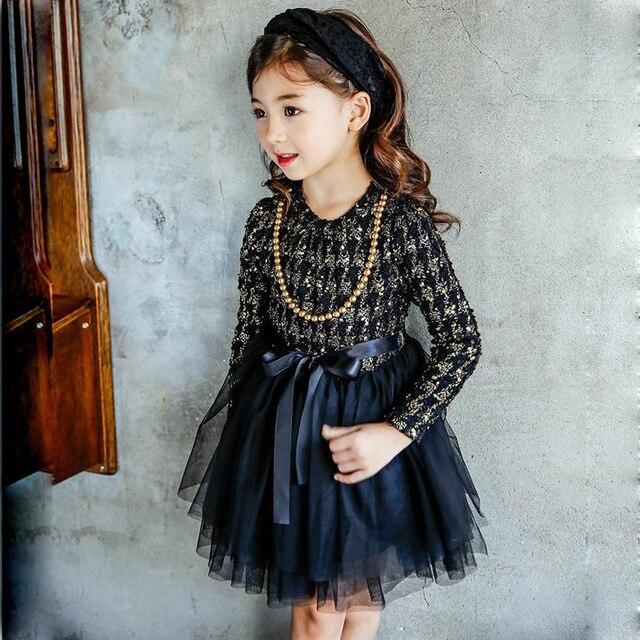 Корейское платье для девочек осень-зима Обувь для девочек в клетку платье-пачка Обувь для девочек с длинным рукавом теплое платье с Цепочки и ожерелья детская одежда d0365