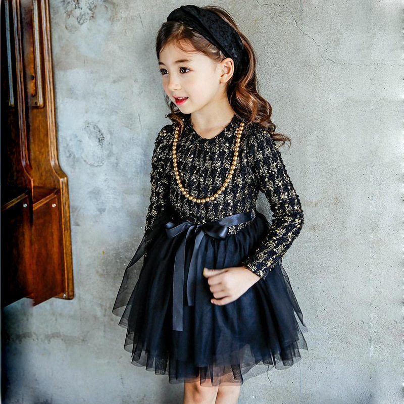 Korean Girls Dress Autumn Winter Girls Pliad Tutu Dress Girls Long Sleeve Warm Dress with Necklace Baby Clothes D0365 contrast pu grommet detail dress with necklace