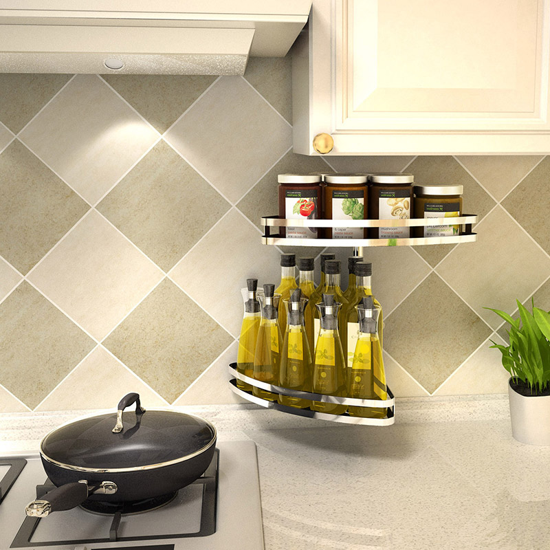 304 stainless steel kitchen shelf wall type rotary storage free punch corner seasoning seasoning rack LU5178 цена