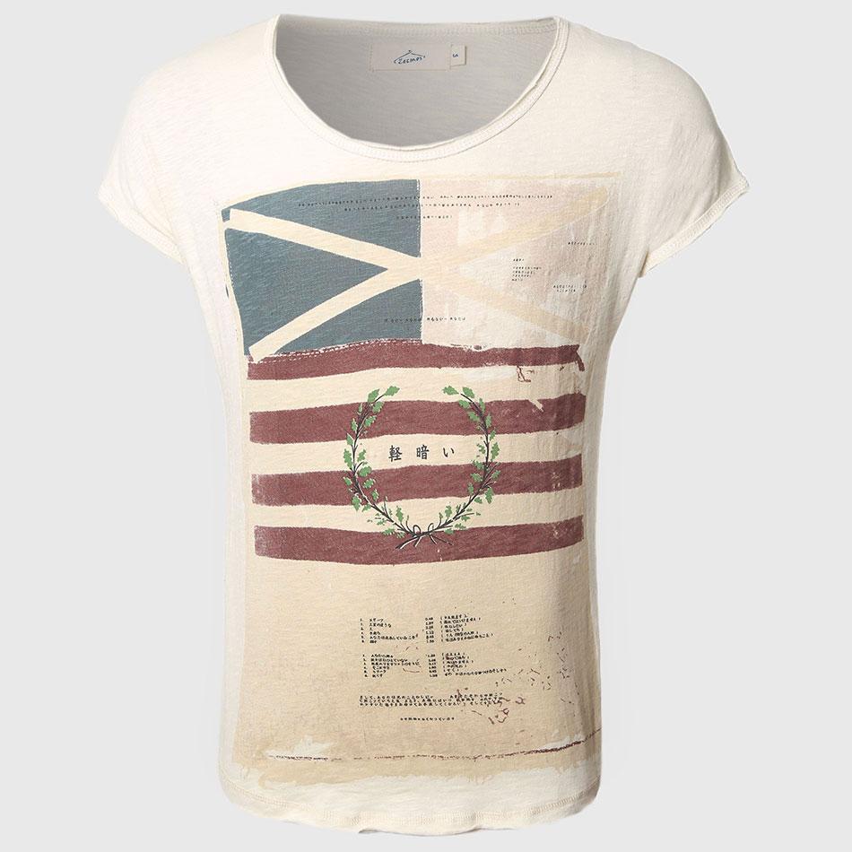남자 일본 인쇄 티셔츠 반팔 군사 슬림 맞는 스트라이프 탑 티즈 티 넥스 플래그 브랜드 보이 패션 멋쟁이 라운드 넥