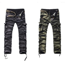 New Men's camouflage pockets pants 29-38 dimension cotton informal male cargo Straight pants males army tactical trousers